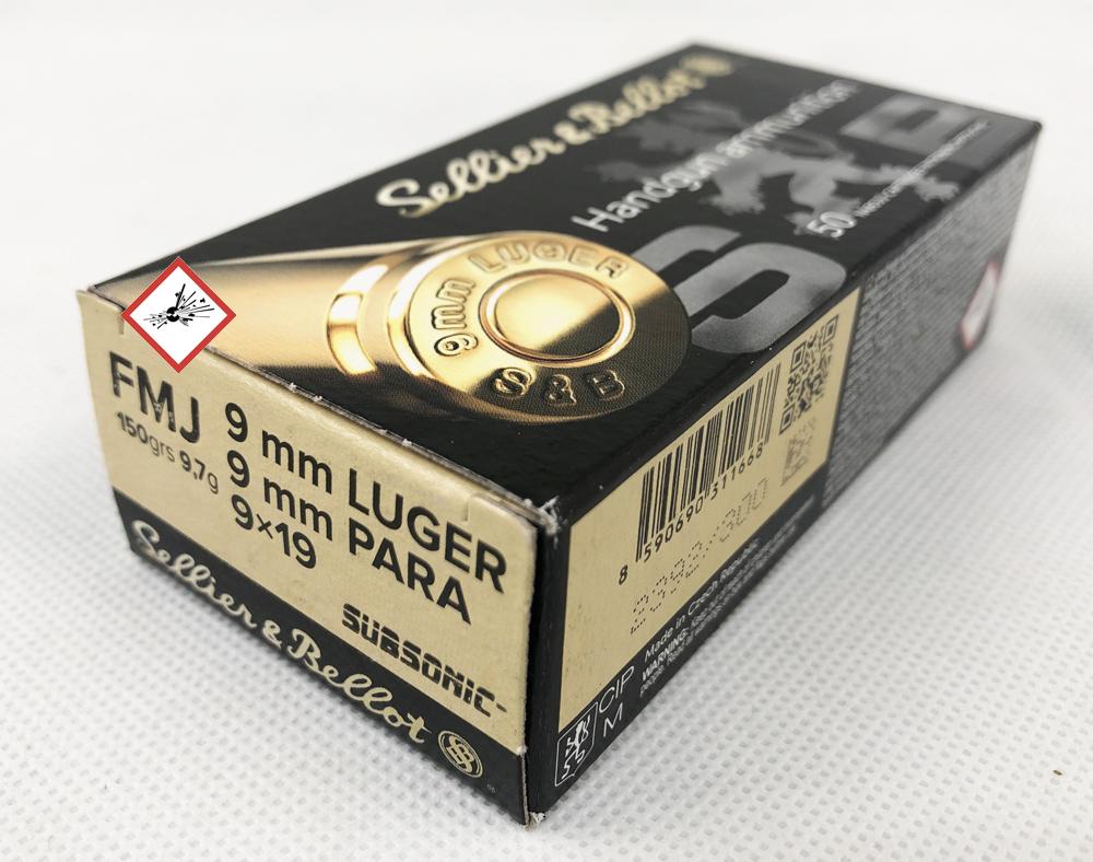 9mm Luger FMJ Subs. 150grs 50 Stück